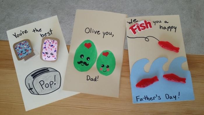 activité fete des peres, modèles de cartes DIY pour papa, exemple de carte fait main avec dessins et peintures faciles