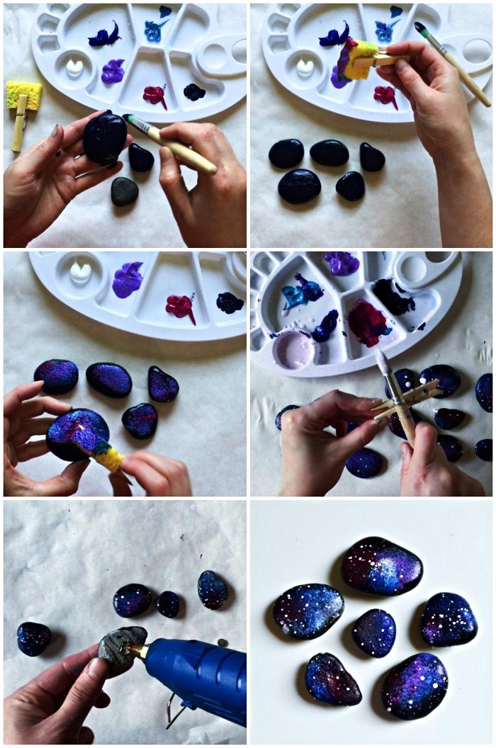 tuto bricolage fête des pères pour tout petit, faire des galets magnets personnalisés peints aux couleurs de la galaxie