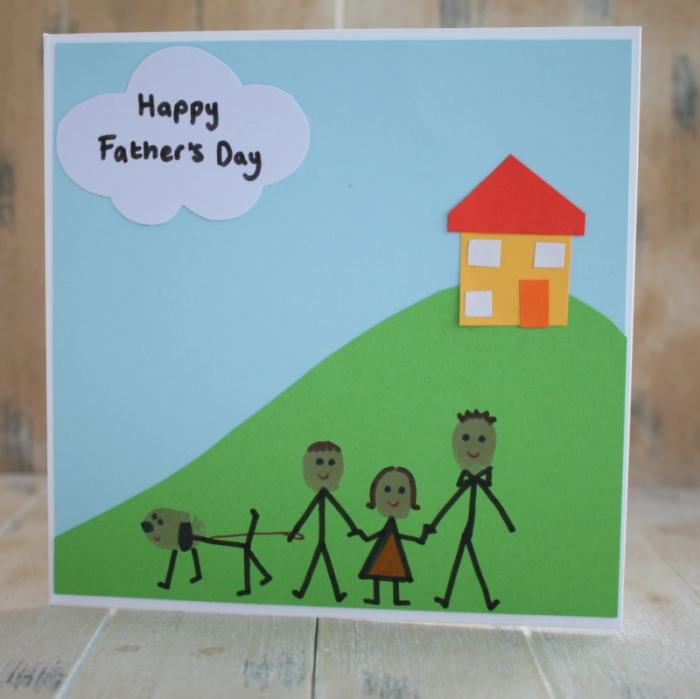 comment fabriquer une carte facile maternelle pour papa, modèle de carte en papier cartonné avec dessins famille