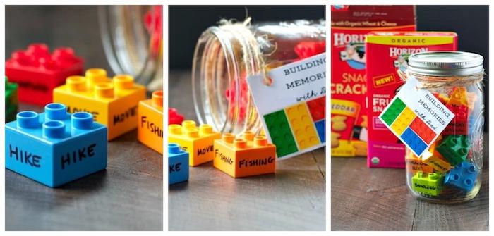 exemple bricolage facile pour la fête des pères activités ensembles inscrites sur des cubes lego à l aide d un marqueur idélebile dans un pot