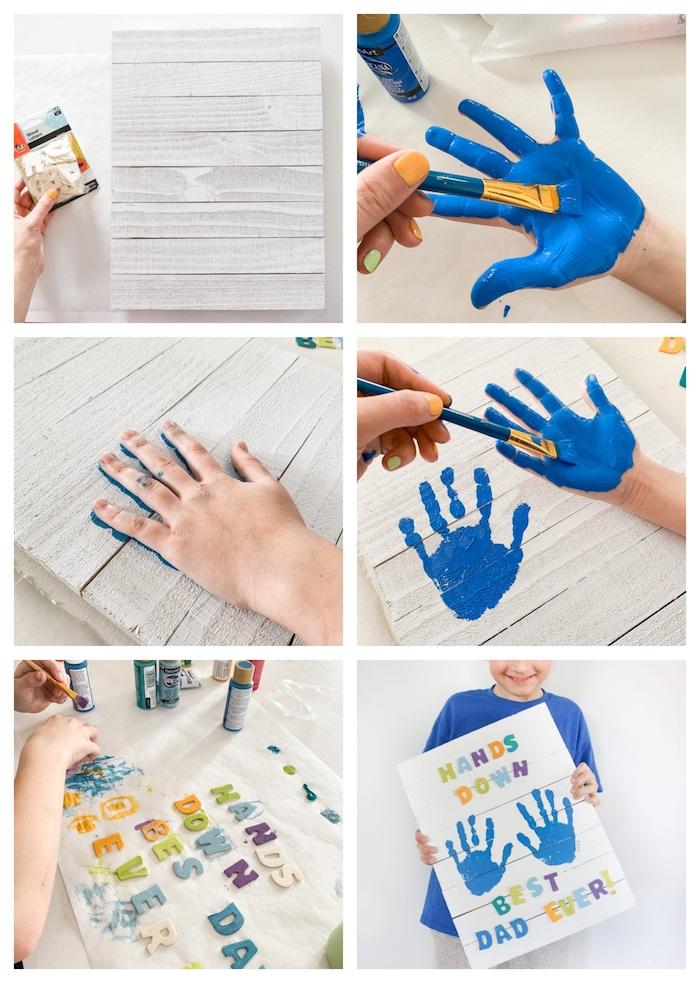 exemple de bricolage fête des pères facile avec empreintes de main en peinture bleue et des lettres colorées sur tableau à lattes de bois