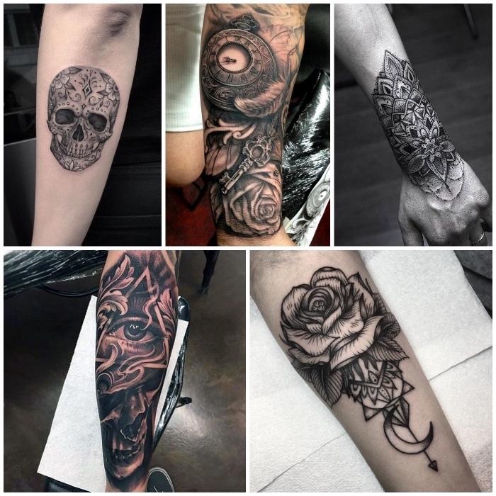 tatouage graphique noir et blanc, crâne, oeil, rose, fleur, rose et boussole, exemples de tatouage avant bras