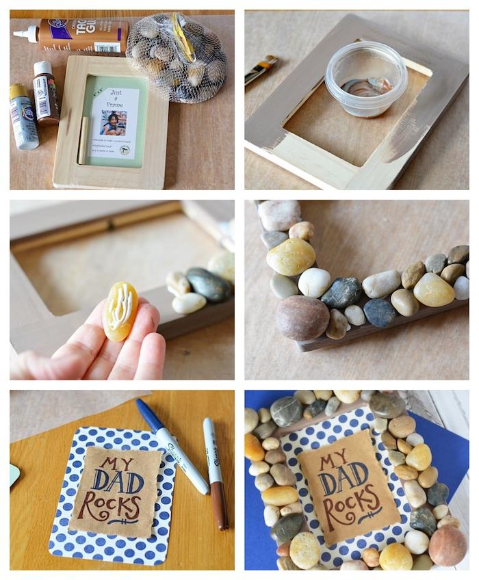 fabrication cadeau fete peres maternelle cadre photo dy fete des peres maternelle avec des bojets recup enfant 4 5 ans