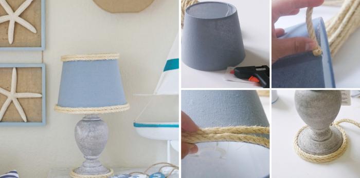 diy lampe de chevet facile, idée recup lampe dans l'esprit marin avec corde, tutoriel facile pour faire un objet de deco marine