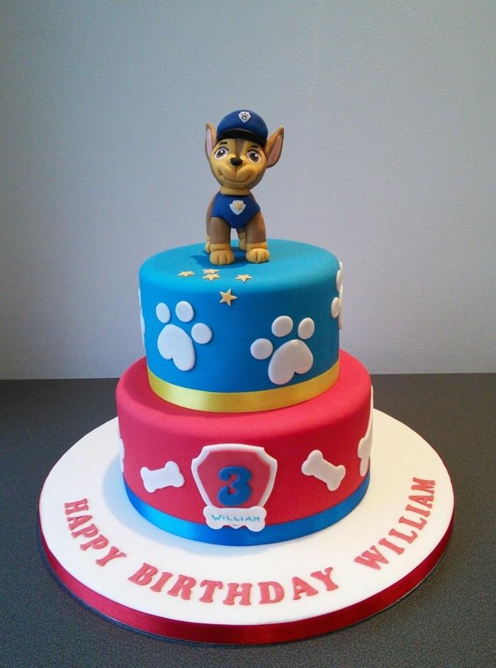 gateau d anniversaire garcon, gateau rouge et bleu, chien policier, empreintes de pattes 3d