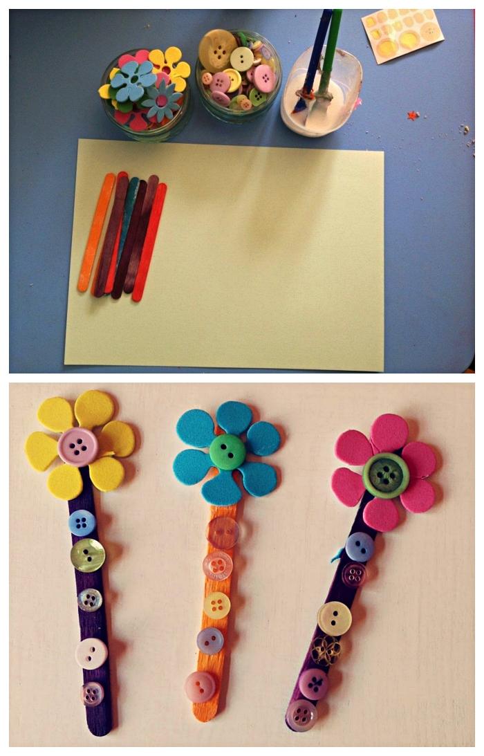 fabriquer des marque-pages fleurs en bâtonnets de bois décorés de boutons, activité fête des mères pour les tout petits