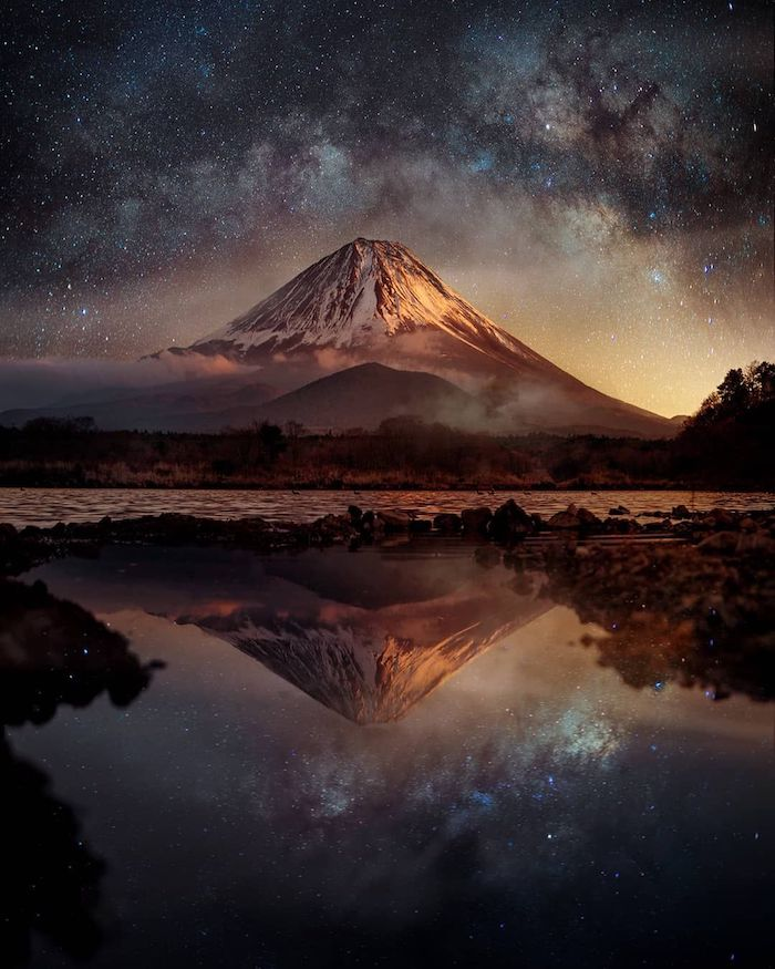Sommet nuit paysage, japon paysage montagne et lac, les plus beaux pays du monde, beau paysage nature volcan au nuit étoilée