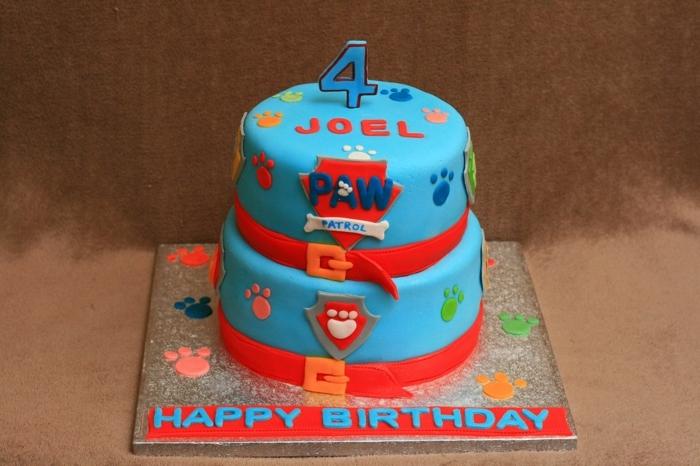 gateau bleu, gâteau surprise aux couleurs magnifiques, gateau dessin pat patrouille