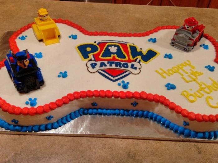 gâteau pat patrouille, logo pat patrouille, gâteau d anniversaire garçon, gateau enfant en forme d os