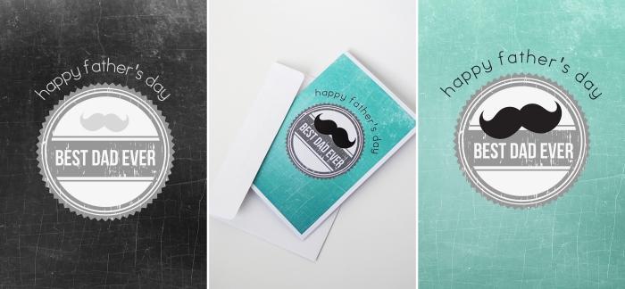 carte de fete à imprimer, idée activité manuelle facile et rapide, modèle carte fête des pères avec message et moustaches