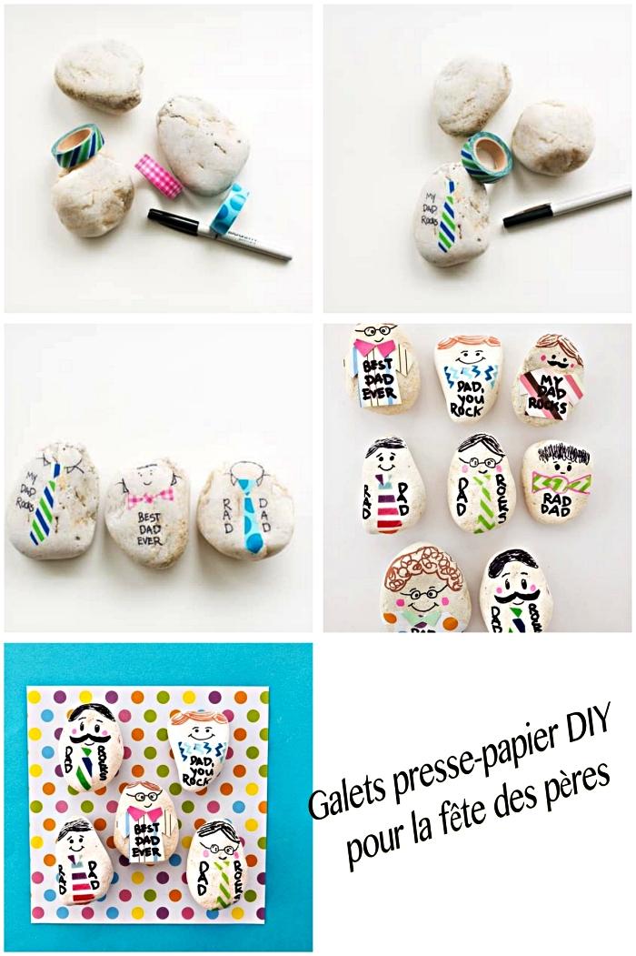 fabriquer un cadeau fête des pères en maternelle, idée de bricolage amusant à l'école maternelle, des cailloux personnalisés avec du masking tape à offrir pour la fête des pères