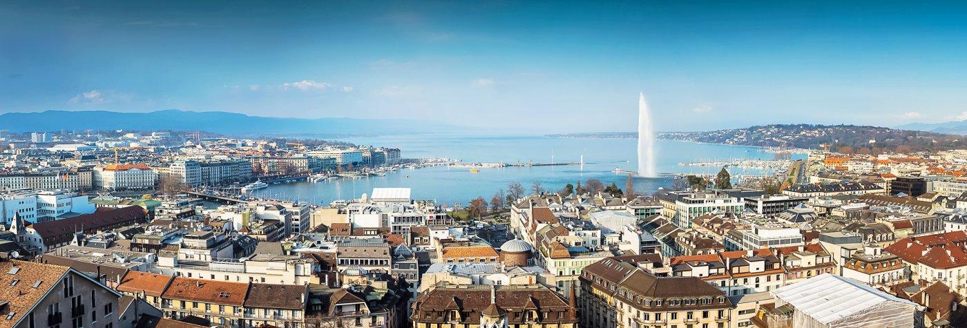 photo panorama de Genève sur les bords du lac Léman pour des grandes vacances en famille en Suisse