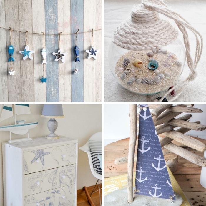 activité manuelle sur thème plage, idée objets de style marine à faire soi-même, projets créatifs pour faire objet ou meuble marin