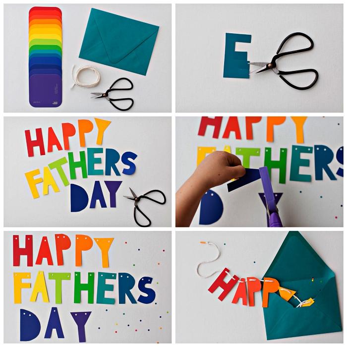réaliser une guirlande bonne fête des pères aux couleurs de l'arc-en-ciel, guirlande fete des peres cadeau personnalisé à faire avec les enfants de l'école maternelle
