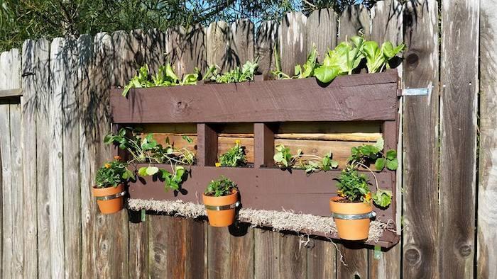 habiller mur vegetal exterieur avec une palette à pots de fleurs fixés et des plantes vertes rangées dedans