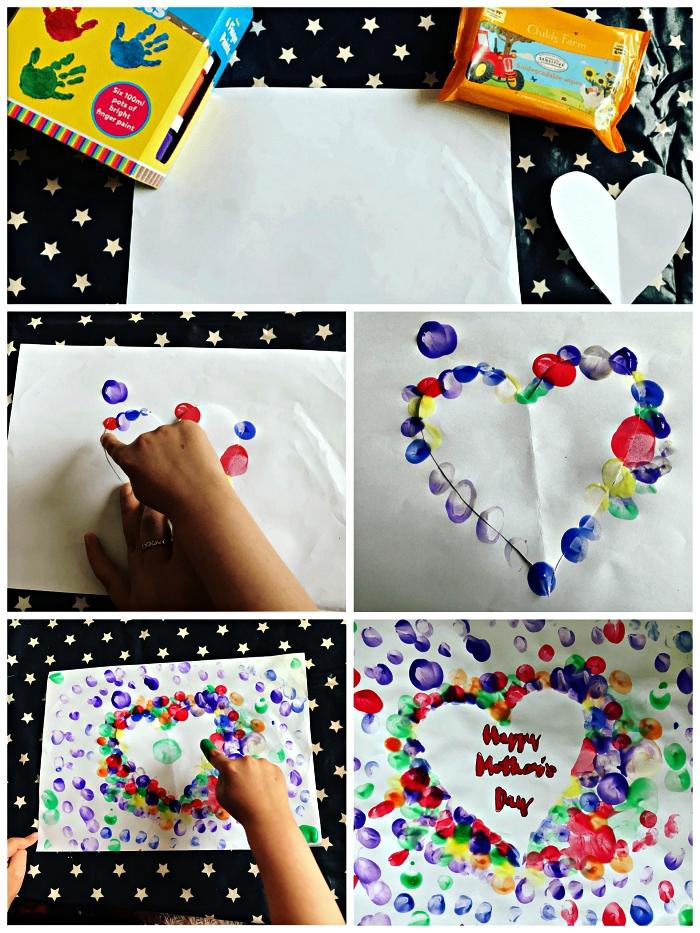 dessin coeur spécial fête des mères réalisé avec des empreintes de doigts de couleurs différentes, idée de bricolage pour la fete des meres maternelle