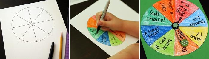 cadeau fête des pères à fabriquer 2 ans, modèle de carte DIY pour papa en forme de spinner rond avec message