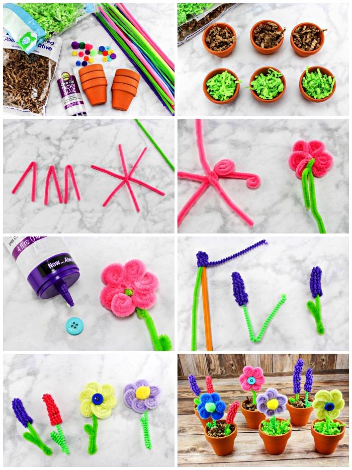 cadeau fête des mères à fabriquer soi-même, des mini-pots avec fleurs en cure-pipes à faire avec les enfants dès le plus jeune âge