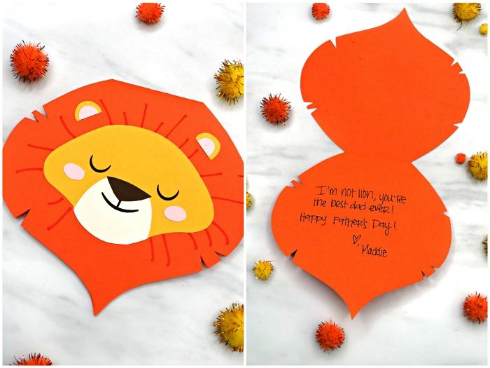 carte fete des peres maternelle en forme de tête de lion mignon avec message personnalisé à l'intérieur