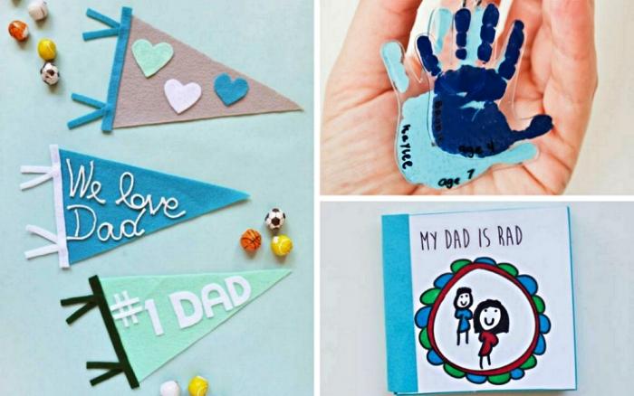 trois idées pour cadeau de fête des pères personnalisé réalisé par les plus petits, cadeau fete des peres bebe