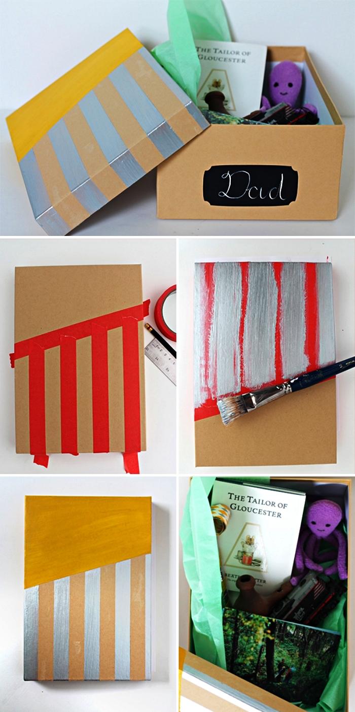 cadeau fete des peres original avec les plus beaux souvenirs de papa, réunis dans une jolie boîte personnalisée à la peinture