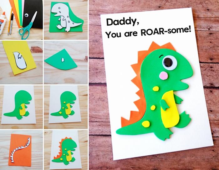 pas à pas facile maternelle, comment faire une carte avec animale en papier cartonné de couleurs, bricolage fête des pères pour tout petit
