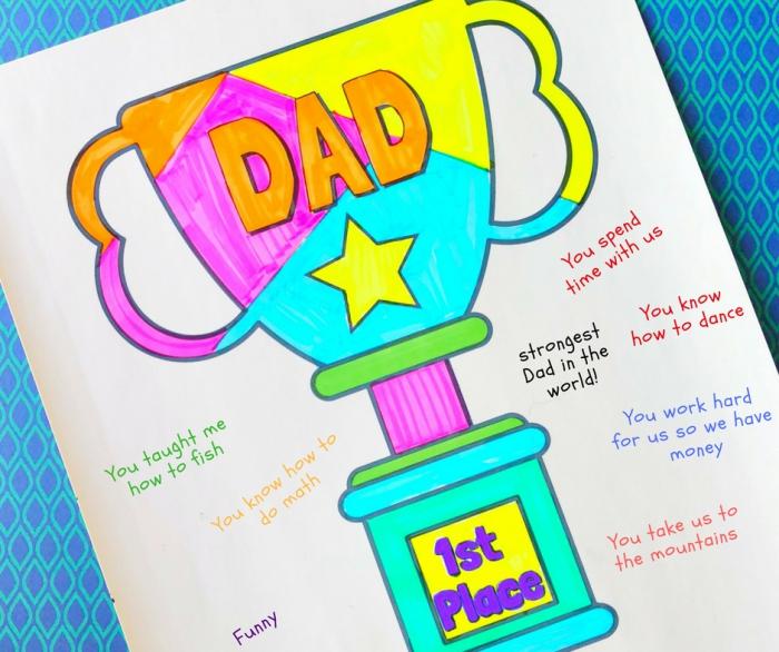DIY carte fete des peres avec dessin coupe meilleur papa, exemple de carte à colorier pour la fête des pères