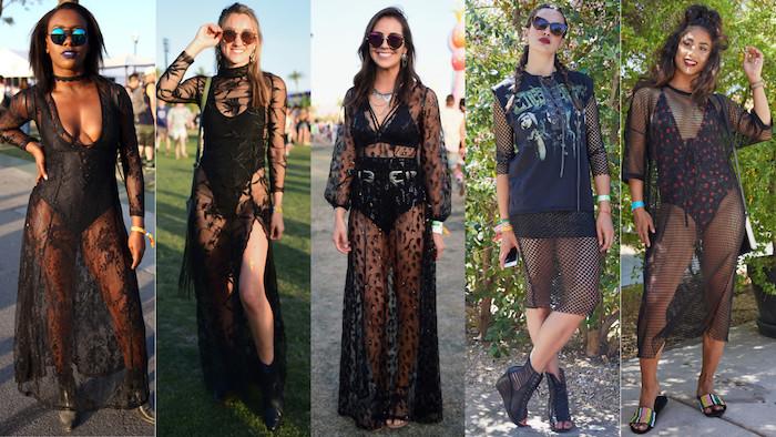 Longue robe noire dentelle, robe dentelle boheme, robe longue hippie chic, adopter le style top de l'été coachella