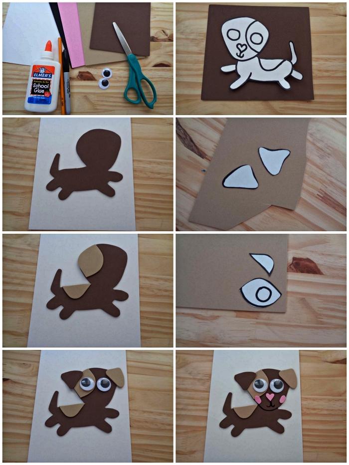 tutoriel pas à pas pour faire une carte bébé chien en 3d à partir de bouts de papier cartonné collés ensemble, fete des peres cadeau à fabriquer avec les enfants de l'école maternelle