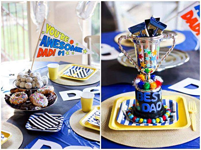 décoration de table à l'occasion de la fête des pères, petit drapeau personnalisée et trophée fait-maison pour souhaiter bonne fête des pères