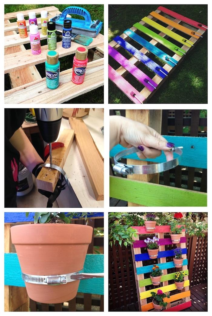 comment ranger ses pots de fleur sur une palette repeinte de couleurs variées, pots de fleur fixés sur bois de palette