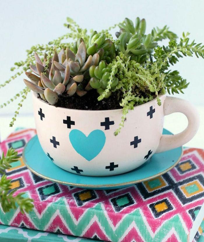 idée de tasse à thé à coeur bleu entouré de plus avec sous coupe bleue avec des succulents à l intérieur