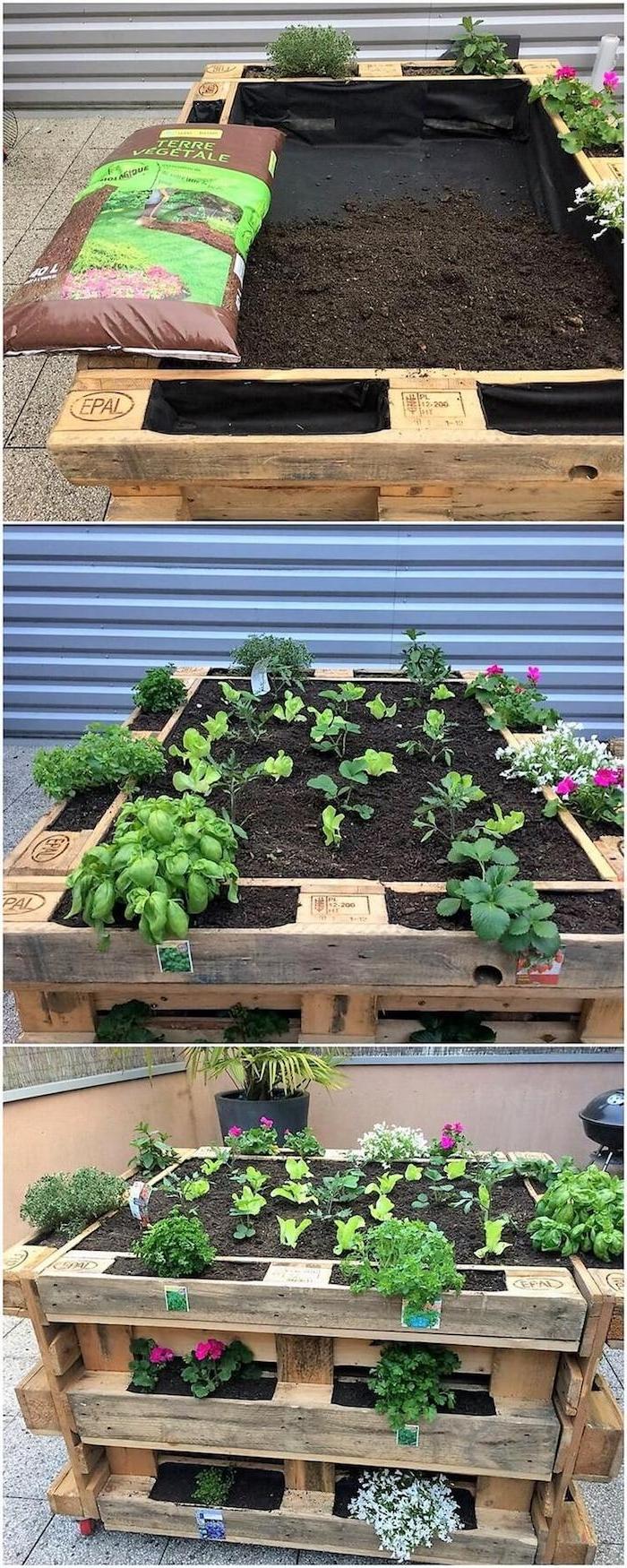 idee de jardiniere sur pied avec un lit aux légumes en temp et des fleurs rangrées sur les cotés, fabriquer carré potager