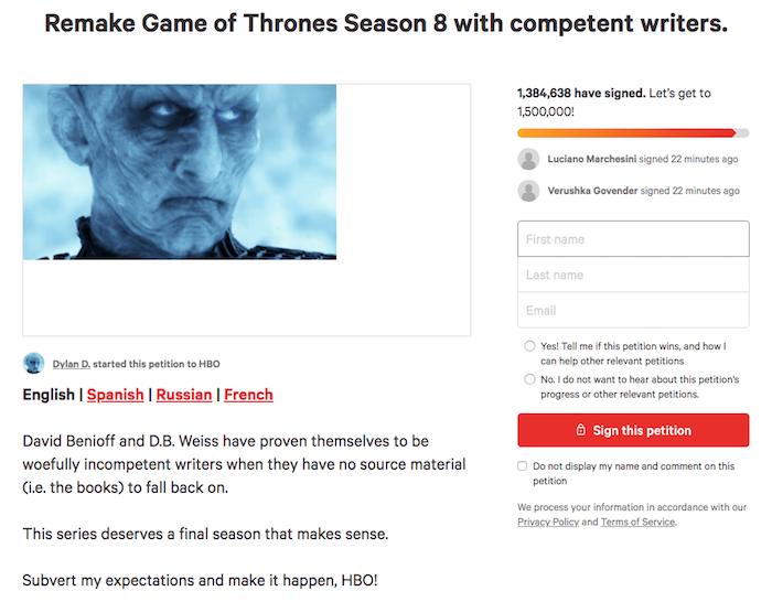 copie écran de la pétition lancée sur change org pour l'écriture d'un nouveau scénario de fin pour Game Of Thrones, jugée irrespectueuse par Sophie Turner alias Sansa Stark