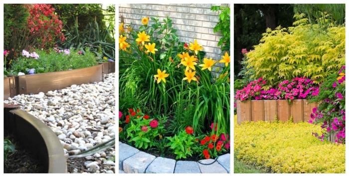 galet décoratif, bordure bois, pavés blancs, bordure en bois, jonquilles jaunes, fleurs et arbustes