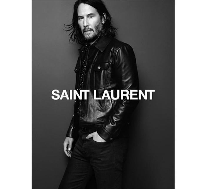 photo Keanu Reeves pour la campagne automne hiver 2019 de Saint Laurent sur Instagram avec blouson en cuir noir et chemise à pois
