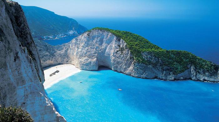 Zacynthe vue de la mer, plage avec sable et rochers blanches grandes, Zante Grece paysage campagne, paysage hiver, voir les plus beaux endroits du monde