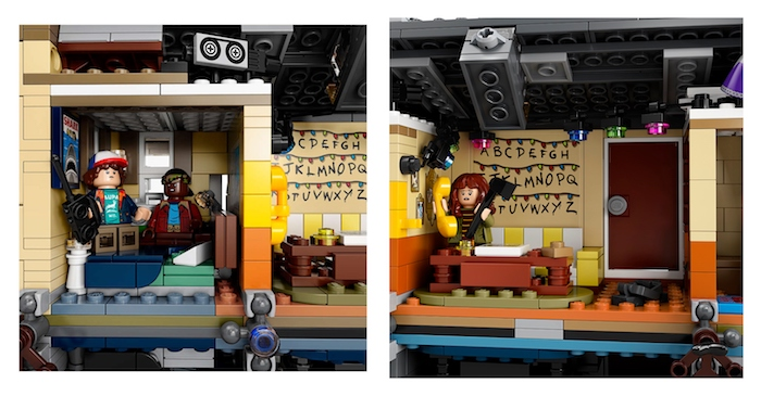 La maison de Byers dans le nouveau set de Lego Stranger Things, les enfants dans la champre, la mère et le téléphone