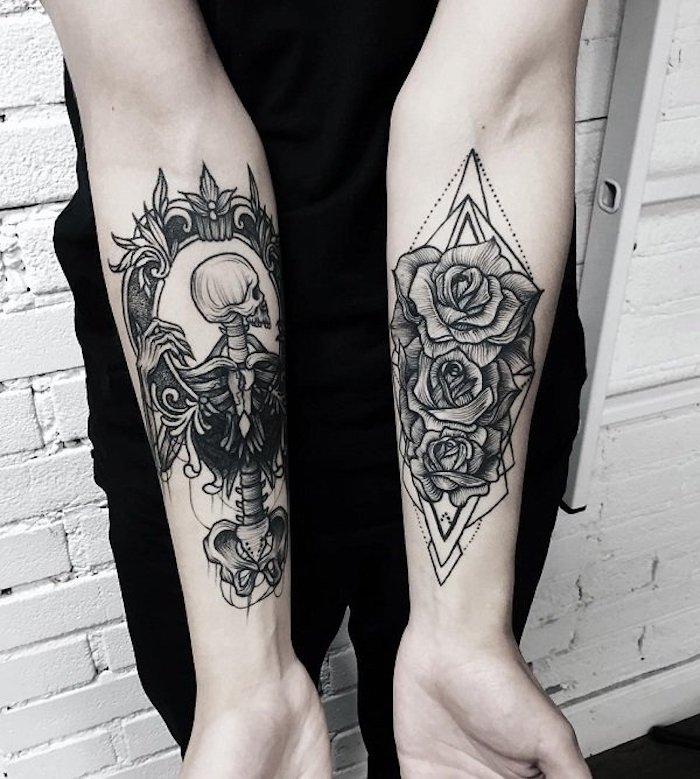 tatouage rose entourée de formes géométriques et tatouage squelette et couronne d épines