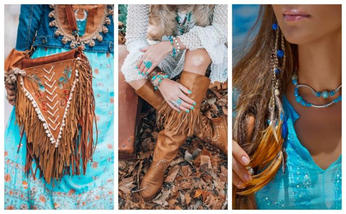 sac triangulaire avec des franges, bottes longues aux franges, chemise bleue, collier perles bleues, bijoux style hippie