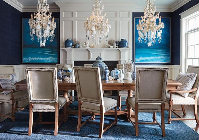 comment décorer une salle à manger rétro chic avec objets de style marine, idée peinture de couleur bleu marine
