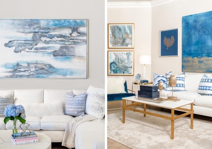 exemple comment décorer un salon blanc et bleu dans l'esprit marin, idée pièce d'art pour faire une décoration murale océéanique