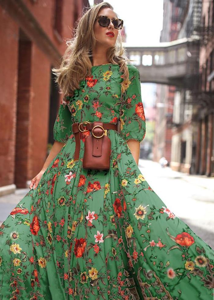 Vert robe fleurie manche longue jupe longue evasee, robe hippie, robe fluide femme, robe longue d'été
