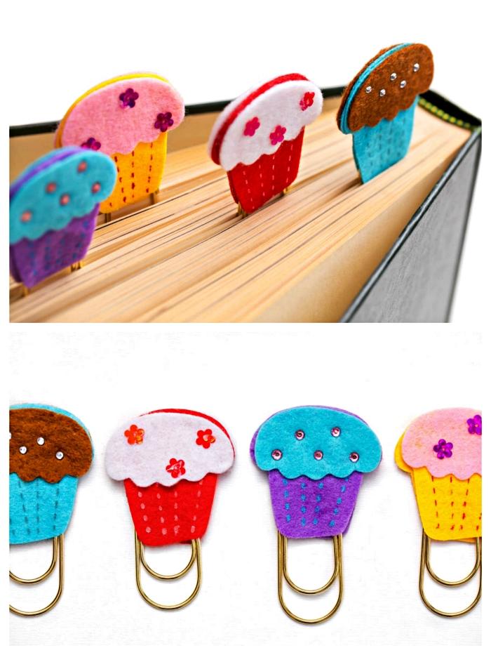 idée de cadeau personnalisé pour la fête des mères à réaliser avec les enfants, cadeau fete des meres maternelle, faire des marque-pages cupcakes en feutre,