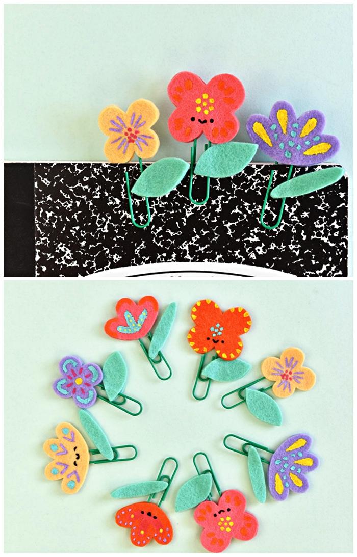fabriquer une marque-page fleur en feutre et trombone à offrir comme cadeau pour la fête des mères, cadeau fête des mères à fabriquer soi-même