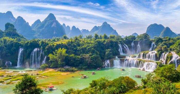 Ban Gioc-Detian chute d'eau, Cao Bang, Vietnam, les plus beaux paysages du monde, paysage hiver endroit paradisiaque