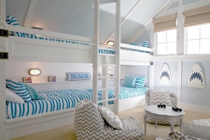 idée déco marine dans une chambre d'enfant, quelles couleurs associer dans une pièce de style bord de mer