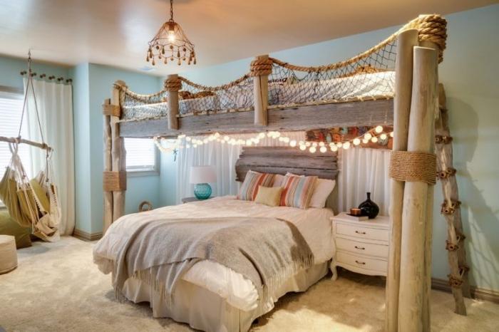 comment décorer une chambre d'enfant dans l'esprit marine, idée déco de plage facile, modèle de suspension luminaire ethnique