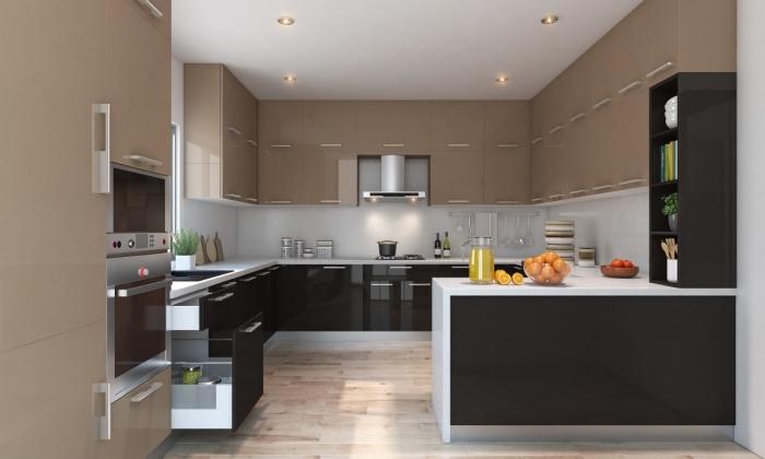 idée pour cuisine complete pas cher, modèle de cuisine en noir et blanc avec armoires beige et parquet bois clair