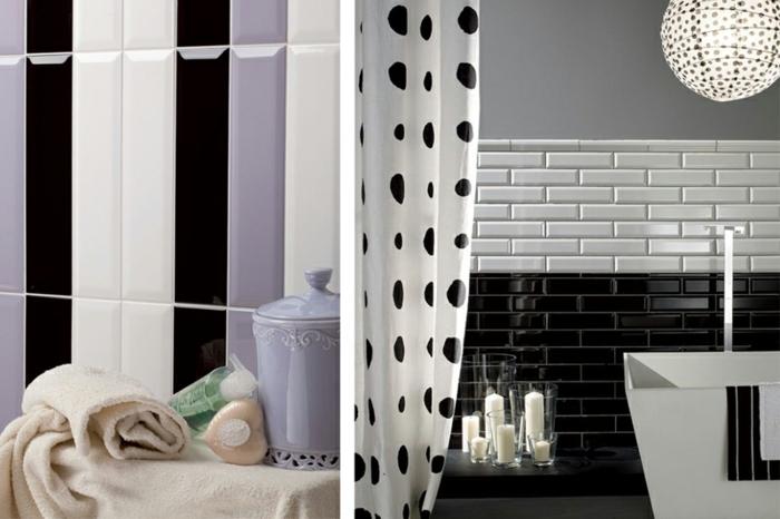 baignorie blanche, mur en carrelage blanc et noir, bougies blanches, décor salle de bain original